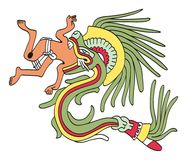 Quetzalcoatl in feathered serpent form, eating a man Stock Photo