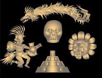 Quetzalcoatl und aztekische Symbole Stockfotos