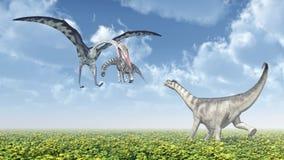 Quetzalcoatlus attacks a Camarasaurus Stock Photo