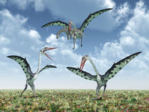 Quetzalcoatlus attacks a Camarasaurus Stock Photos