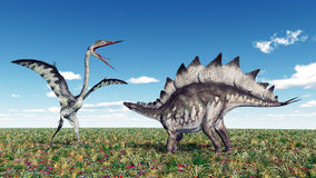 Quetzalcoatlus and Stegosaurus Stock Photography
