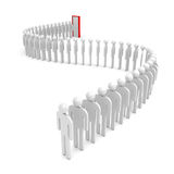 A queue of abstract people on white Stock Photography