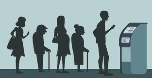 Queue at the ATM background for bank advertising.Disgruntled people are standing in line for an background.Senior and pre. Background for bank advertising stock illustration