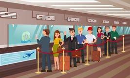 Queue for Boarding Registration Flat Illustration. royalty free illustration