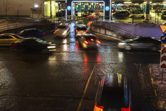 Queue of  cars at entrance of shopping mall parking Royalty Free Stock Photography