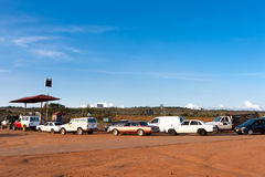 The queue of cars at gas station Royalty Free Stock Photos