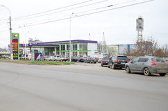 Queue of cars at the gas station in Kerch Royalty Free Stock Photos