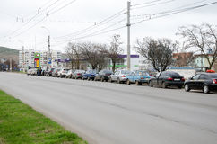 Queue of cars at the gas station in Kerch Stock Photos