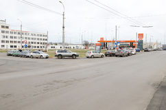 Queue of cars at the gas station in Kerch Royalty Free Stock Images