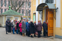 Queue in the church in Easter Sunday Royalty Free Stock Photography