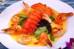 Queue, crevette et feston de homard photos libres de droits