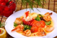 Queue, crevette et feston de homard images libres de droits
