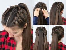 Queue de poney avec le cours de coiffure de tresse Image libre de droits