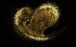 Queue de poussière cosmique éclatante d'or de coeur images stock