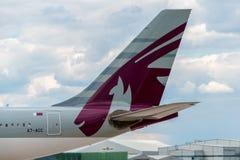 Queue de Qatar Airways Airbus A330 Image libre de droits