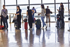Queue in the Departure Lounge of Madrid's Airport Brajas royalty free stock images