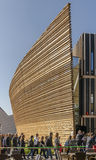 Queue at Eire pavilion, EXPO 2015 Milan. MILAN, ITALY - October 19, EXPO 2015, visitors queue for entrance in front of Eire wooden pavilion, shot  on oct 19 2015 Royalty Free Stock Images