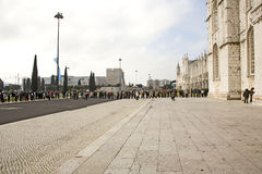 Queue in front of the Jerónimos Monastery Stock Images