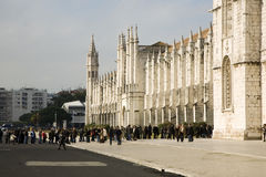 Queue in front of the Jerónimos Monastery Royalty Free Stock Photography