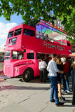 Queue in front of an old double decker bus Royalty Free Stock Photos