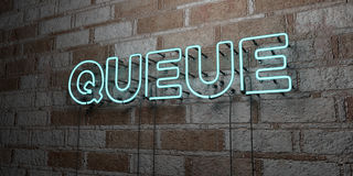 QUEUE - Glowing Neon Sign on stonework wall - 3D rendered royalty free stock illustration Stock Photo
