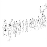 Queue. Hand drawn black and white sketch in doodle style of people in queue Royalty Free Stock Images