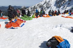 Queue for hang gliders Stock Image