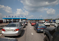 Queue on highway toll gate Royalty Free Stock Photos