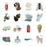 Queue, histoire, voyage et toute autre icône de Web dans le style de bande dessinée Nourriture, animal, pêchant des icônes dans l Photo stock