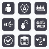 Queue icon. Person waiting sign. Check and time. Stock Images