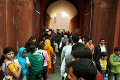 Queue in India. In India, men and women usually have to queue separately. Photo taken at Red fort in Delhi royalty free stock images