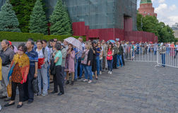 Queue in Lenin`s Mausoleum at the Red Square. Royalty Free Stock Image