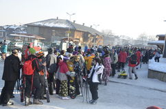 The queue for the lift in the New Year holidays. vacation in the ski resort. Bansko. Bulgaria. Royalty Free Stock Photos