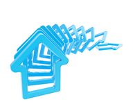 Queue line of house emblems falling down Royalty Free Stock Image