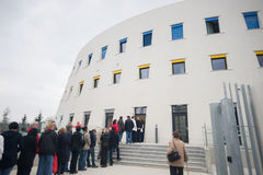 Queue, line of people waiting at entrance of Umelecko prumyslove museum art depository box storage Stock Photography