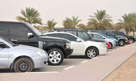 Queue of Luxury Cars. Palm trees are visible on background royalty free stock photo