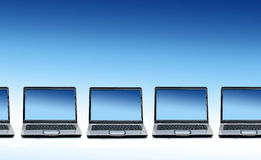 Queue of new laptops. Stock Photography