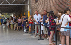 Queue of people in Barcelona. Stock Photo