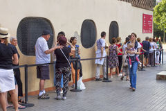 Queue of people in Barcelona. Stock Photography
