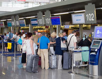 The queue of people in the booking office Vnukovo Airport, Moscow, Russia Stock Photo