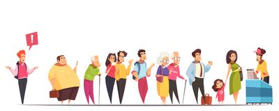 Queue People Characters. People waiting in long queue at counter with fat man hipster old young couples kid  vector illustration Royalty Free Stock Photo