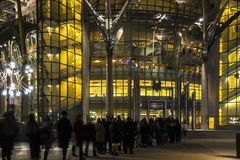 The queue of people at the entrance to a music concert in modern. Concert hall Royalty Free Stock Photography