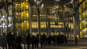 The queue of people at the entrance to a music concert in modern. Concert hall Stock Photos