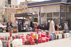 Queue at petrol station in Egypt stock photos
