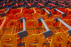 Queue of shopping trolleys Royalty Free Stock Image