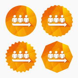 Queue sign icon. Long turn symbol. Triangular low poly buttons with flat icon. Vector Stock Image