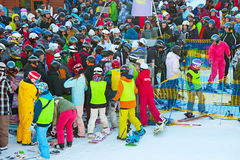 Queue at ski resort Royalty Free Stock Photo