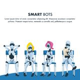 Queue of Smart Robot Sit Wait for Job Interview. Pensive Nervous and Relaxed Artificial Intelligence on Chair Hold Resume. Male and Female Office Bot. Cartoon vector illustration