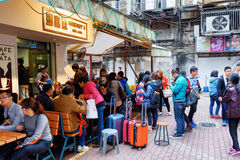 Queue to the Cafe in Macau Stock Photo
