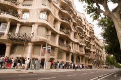 The queue to Casa Mila barcelona Stock Images